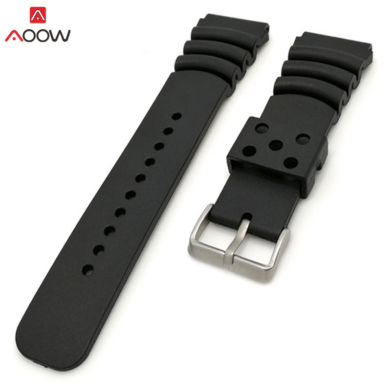 AOOW Silicone Watchband 20 22 24mm Men Black Sports Diving Rubber Waterproof Watch Strap Silver Stainless Steel Buckle Watchband