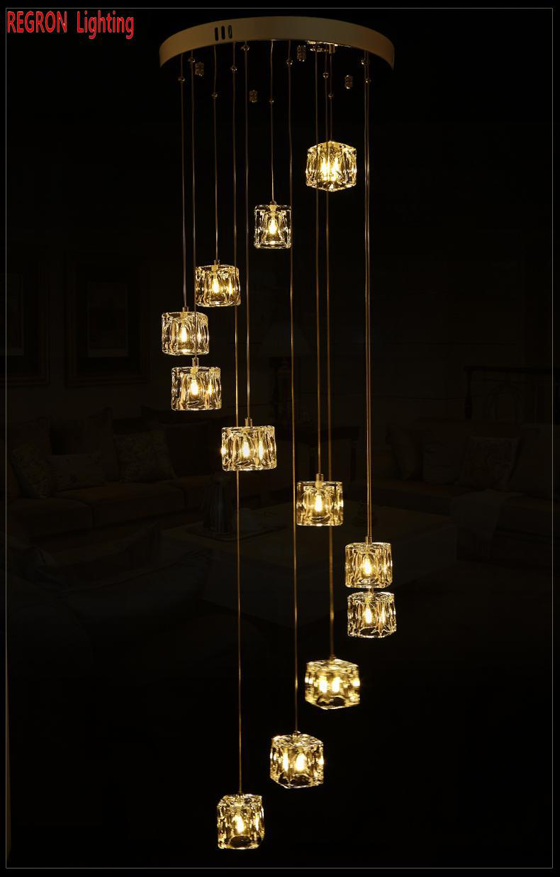 Regron Led Chandeliers Cube Glass G4 Spiral Crystal Hanging Light 1-5m Extra Long Light For Hotel Stairway Hallway Party Banquet