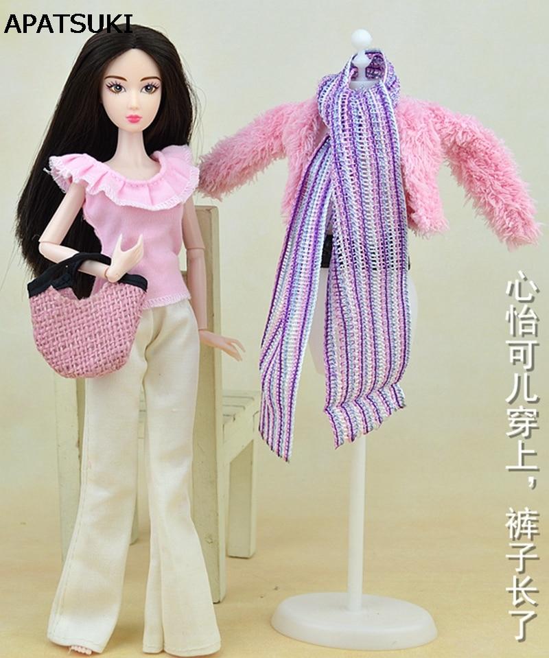 Docka Tillbehör Doll Kläder Set Winter Wear Coat Mode Kläder För Barbie Doll House Byxor Scarf Skor Väskor För BJD Doll