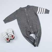 0 3 Years 2017 Wholesale Baby Romper Cotton Autumn Knitting Baby Girls Grey Jumpsuits Pick Size