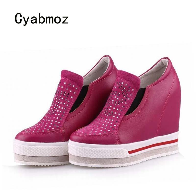 Cyabmoz Women Genuine leather Shoes Woman High heels Platform Wedge Rhinestone Zapatillas deportivas Zapatos mujer Ladies Shoes