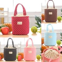 ISKYBOB Lunch Bag Thermal Insulated Dot Eiffel Tower Printing Lunch Box Cooler Bag Tote Bento Pouch Lunch Containe Lunch Bags
