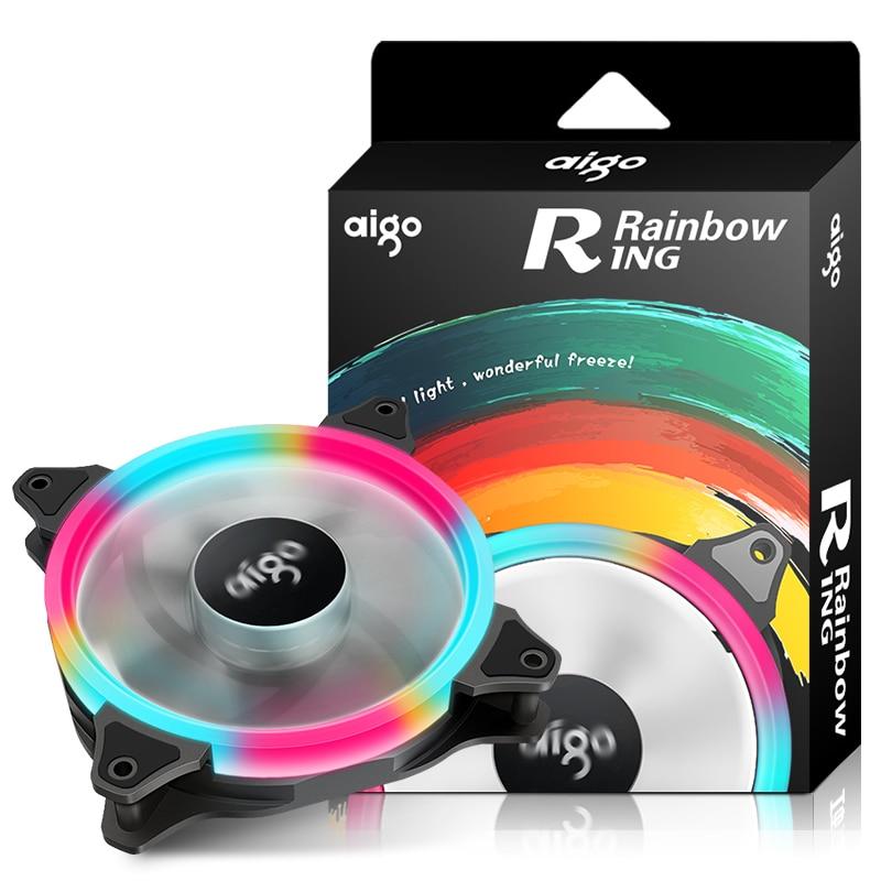 Aigo 120mm/140mm Aurora Ring Rainbow Fan computer pc case cooling Silent led Halo fan Gaming Ventilador PC cpu Cooler