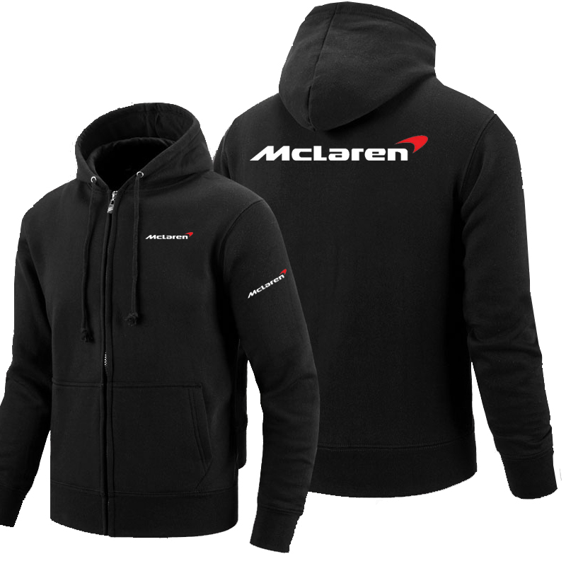 Hoodie Fleece Sweatshirt Long-Sleeve Logo-Printed Mclaren Zipper Jacket Man's title=