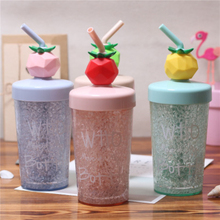 270ml Summer Lovely Plastic Cup Drink Bottle With Straw Double Layer Cold Leak Proof Portable Outdoor Tour My Water