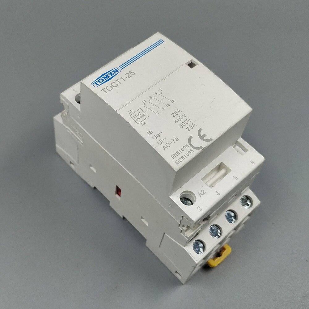 TOCT1 4 P 25A 110 V BOBINA 50/60 HZ su guida Din Per Uso Domestico ac Modulare contattore 4NO o 2NO 2NC Contattori