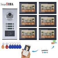 SmartYIBA приложение управление видеодомофон дюймов 7 дюймов Wifi беспроводной видео дверной звонок камера видео запись для 6 единиц квартира