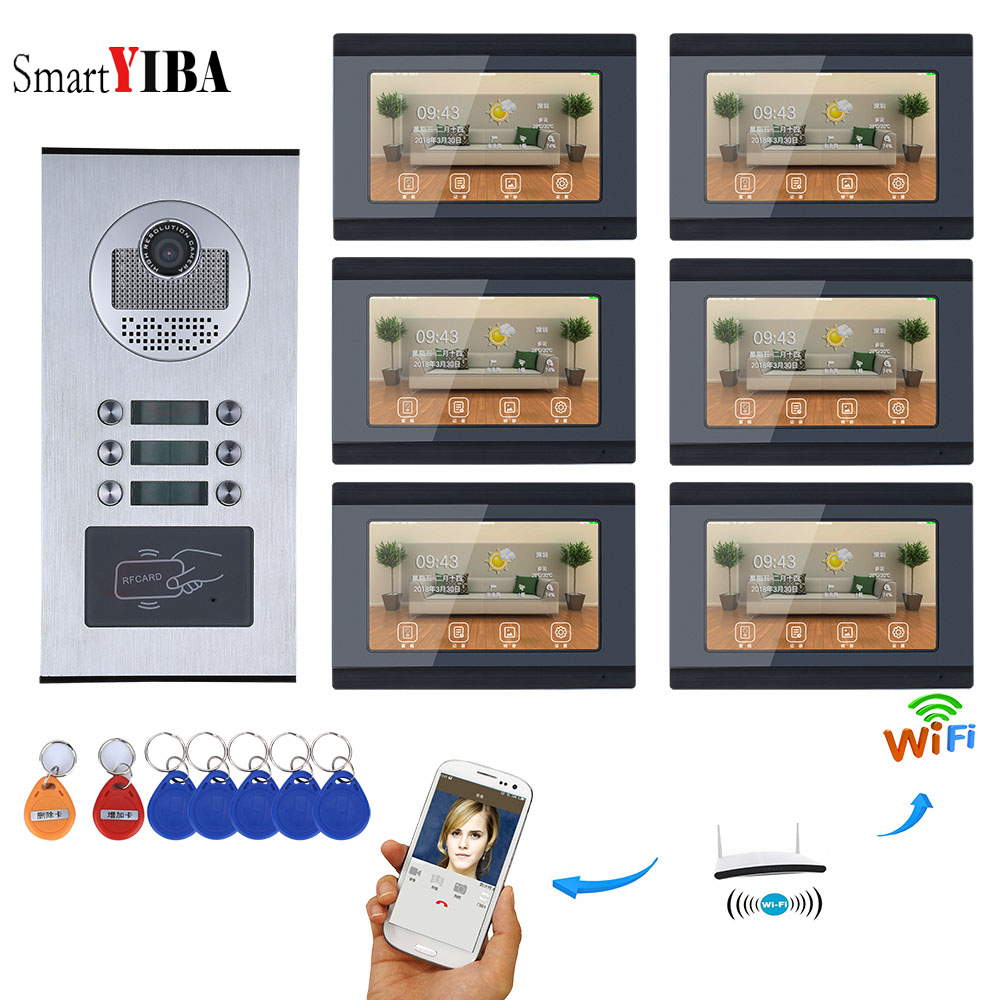 SmartYIBA APP Control Video Intercom 7 Inch Wifi Wireless Video Door Phone Doorbell Camera Video Recording For 6 Units Apartment yobangsecurity 6 units apartment video intercom 7 inch lcd wifi wireless video door phone doorbell video recording app control