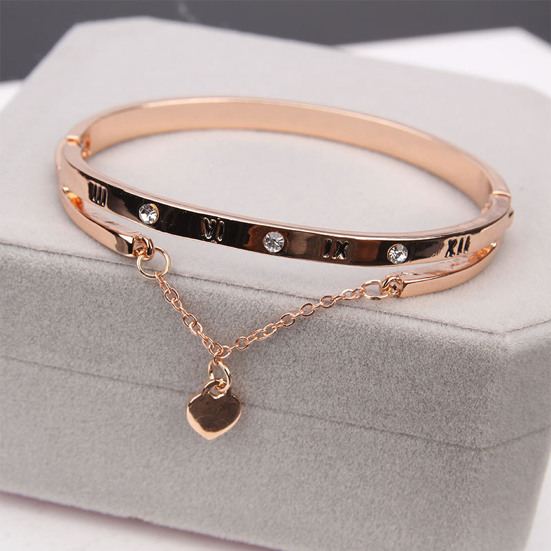 6d74c7033964a US $2.49 40% OFF|Octbyna Fashion Rose Gold Charm Bracelets & Bangle Female  Rhinestone Forever Love Heart Bracelet For Women Jewelry Gift-in Chain & ...