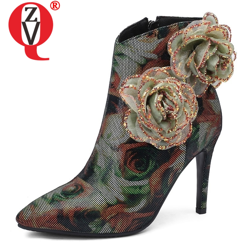 ZVQ 2018 new fashion sexy party women shoes winter outside super high thin heels pointed toe flower ankle boots free shippingZVQ 2018 new fashion sexy party women shoes winter outside super high thin heels pointed toe flower ankle boots free shipping