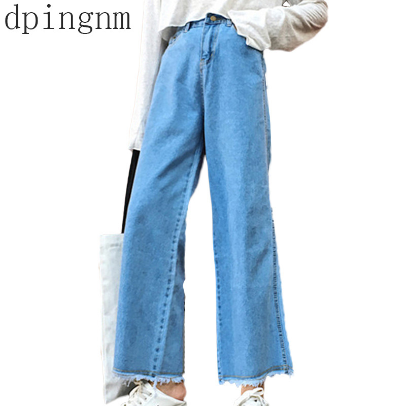 Autumn winter Women Wide Leg Denim Pants   Jeans   Retro Style High Waist Loose Cowboy Flared Trousers Casual Denim Pants