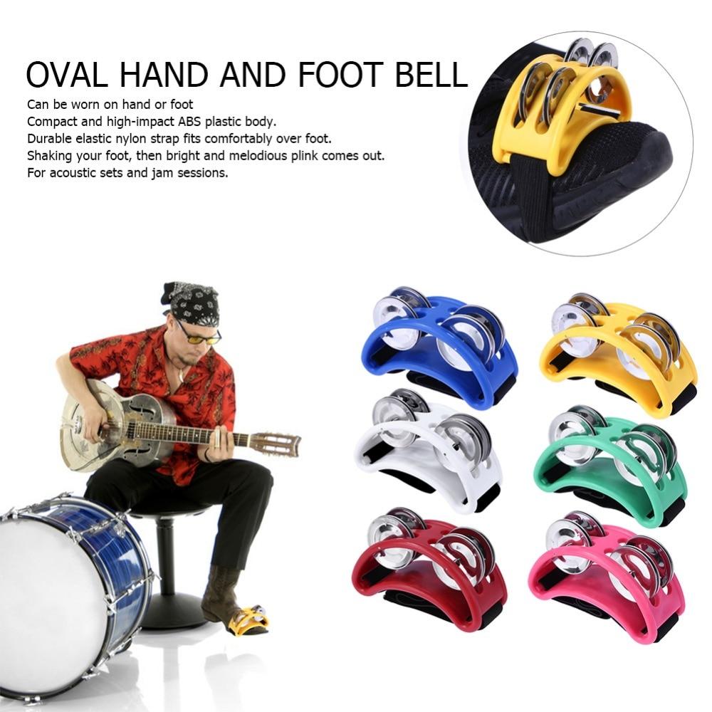 Half Moon Shape Foot Tambourine Metal Jingle Bell Percussion Musical Instrument Box Drum Companion Accessory Black