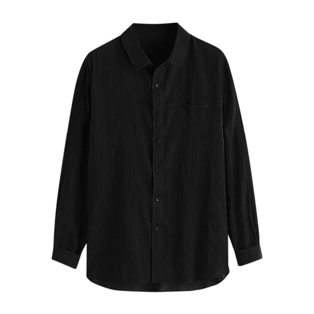 Taglie forti: nuova camicia da uomo estiva, lino di cotone largo