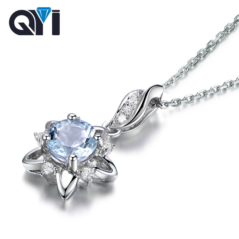 QYI Trendy 925 Sterling Silver Natural Topaz Pendants Necklaces 0.8 ct Round Cut sky Blue Topaz Gemstone Pendants For Women