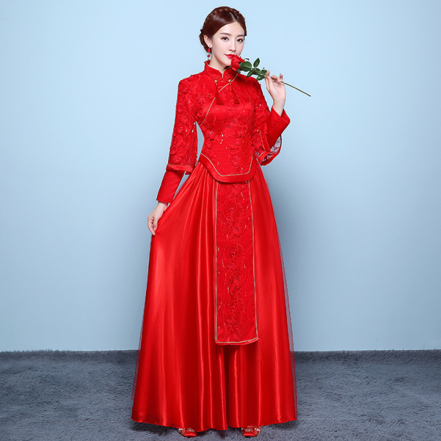 12dc2cf24 2017 Fahion Modern Chinese Wedding Dress Qipao Chinese Oriental Dresses Red  Bride Lace Cheongsam Long Traditional Women Vintage