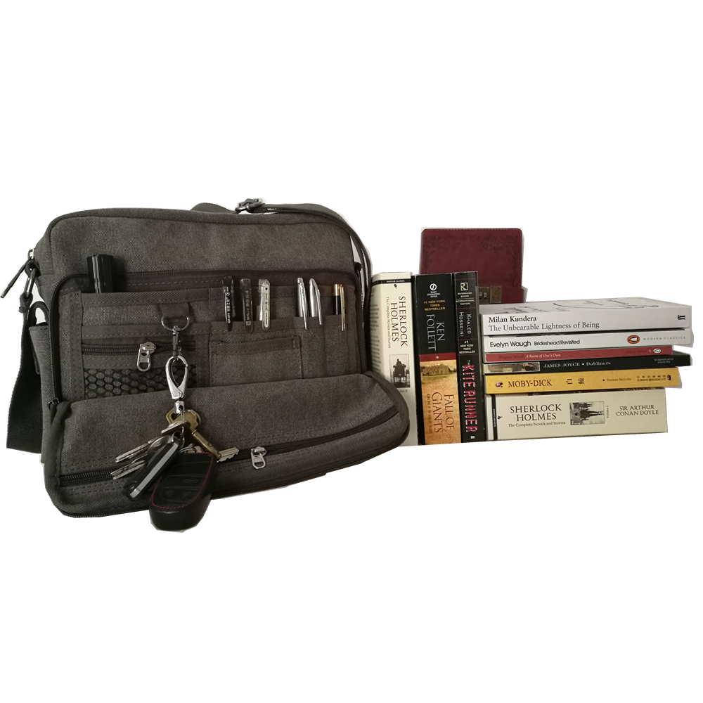 news chic multifunction canvas gray multi-pockets school college University student book daily stachel schoolbag messenger bags