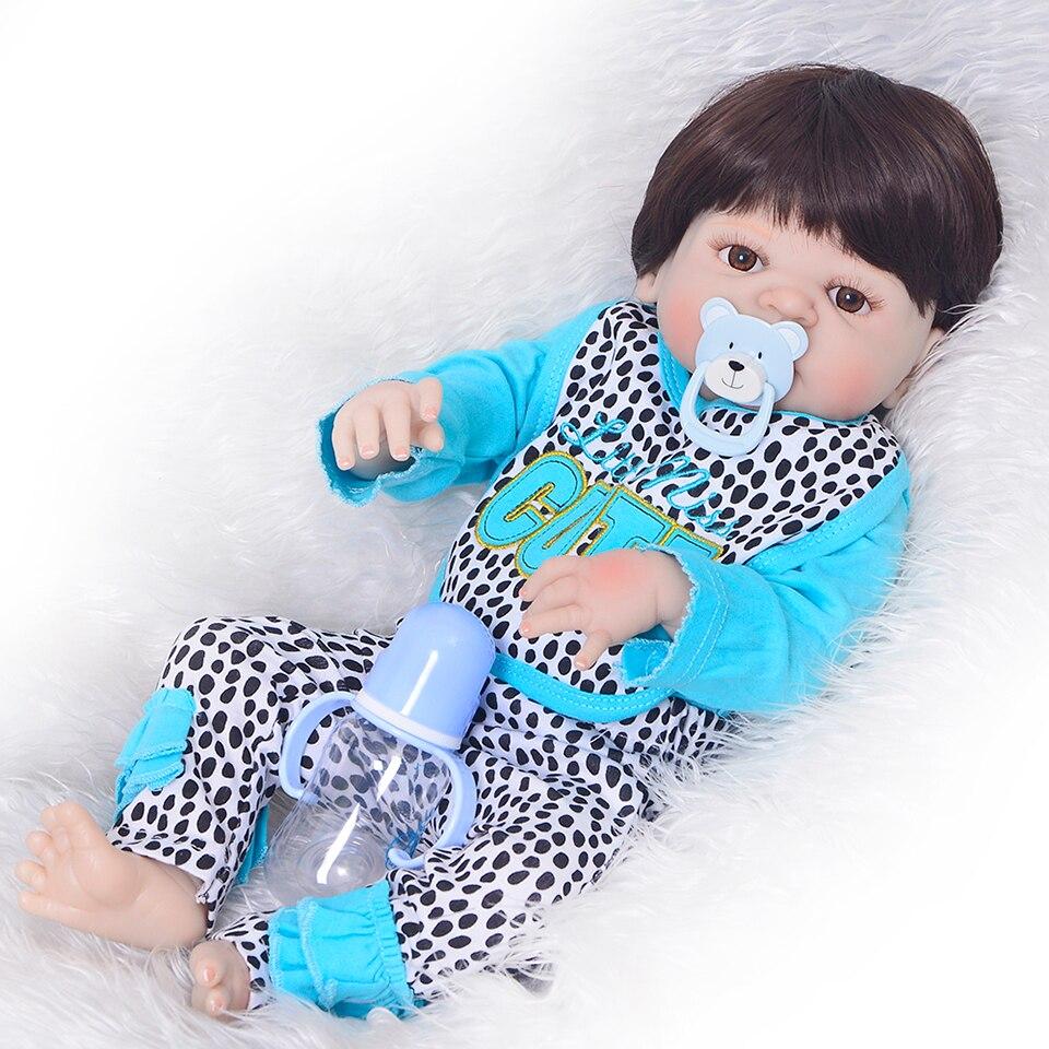 Truly CUTE 57 Cm Full Silicone Reborn Vinyl Body Dolls Girl Model 23'' Realistic New Born Baby Dolls Reborn Kids Christmas Gifts