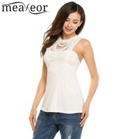 Meaneor Crochet Lace Patchwork Slim Vest Tank Top Women Sleeveless Hollow Out Sexy T Shirt Tops