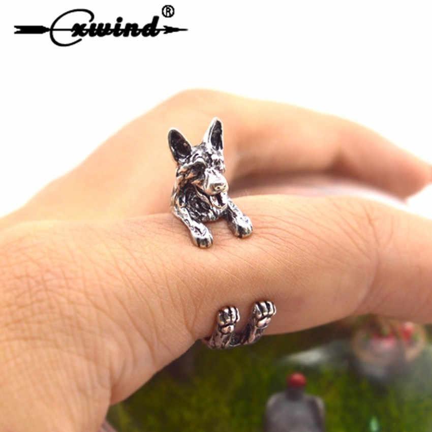 Cxwind Mode Ringen Unieke Handgemaakte Boho Chic Retro Duitse Herder Ring Verstelbare Vinger Ringen Huisdier Liefhebbers Gift Idee Sieraden