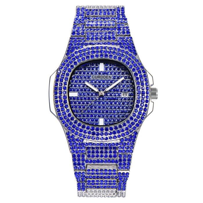 Роскошные часы с бриллиантами для мужчин и женщин, часы в стиле хип-хоп, мужские кварцевые часы, ремешок из нержавеющей стали, деловые наручные часы для мужчин - Цвет: Синий