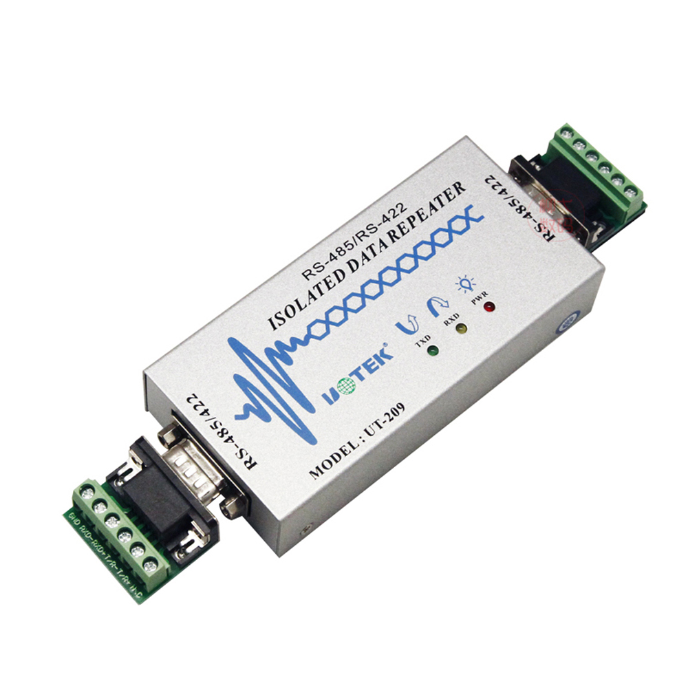 UTEK UT-209 RS485/422 repeater industrial grade photoelectric isolation signal amplifier converter industrial grade photoelectric isolation rs232 to rs485 422 two way active converter lightning protection against surge