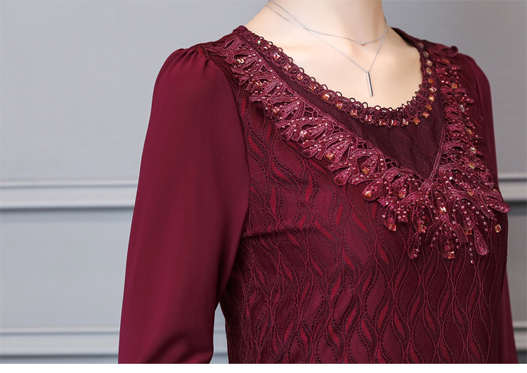 6a779719245d4 2017 Autumn Long Sleeve O Neck Gemstones Lace Blouses Women Embroidery Lace  Shirts Lady Plus Size long Ruffles Lace Peplum Tops-in Blouses   Shirts  from ...
