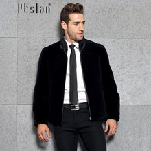 Ptslan 2016 Men's Genuine Leather Jacket Zipper Closure Jacket Real Lamb Fur Coat