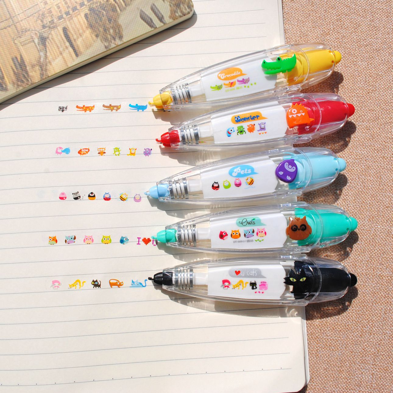 Cute Push Lace Press Type Stationery Pen Correction Tape Diary Scrapbooking Album Decoration Kids Stationery School Supplies