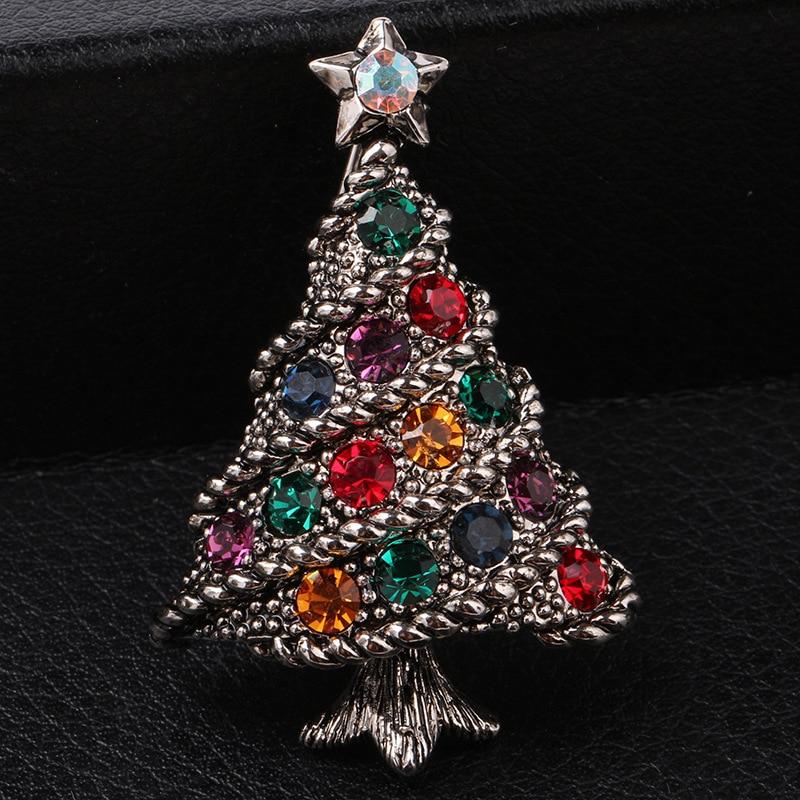 ✓Christmas Gifts Retro Crystal Rhinestone Christmas Tree Brooch Pin ...