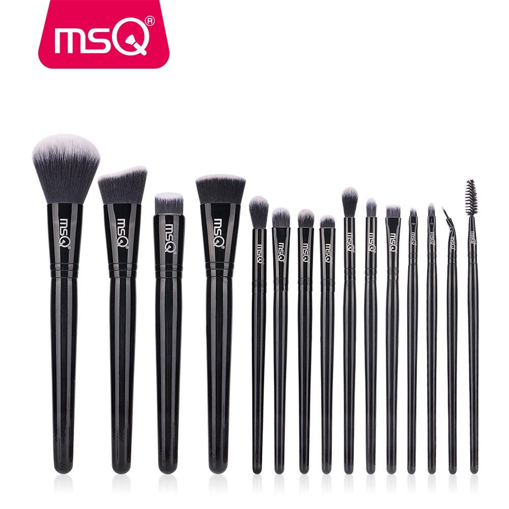 Image 2 - MSQ 15pcs Makeup Brushes Set pincel maquiagem Black Classical Powder Foundation Eyeshadow Make Up Brushes Synthetic Hairmakeup brush setbrush setset beauty -