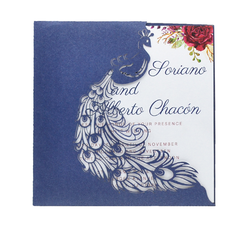 Wedding Invitations Pocket Style: Luxurious Peacock Style Laser Cut Wedding Invitation Card