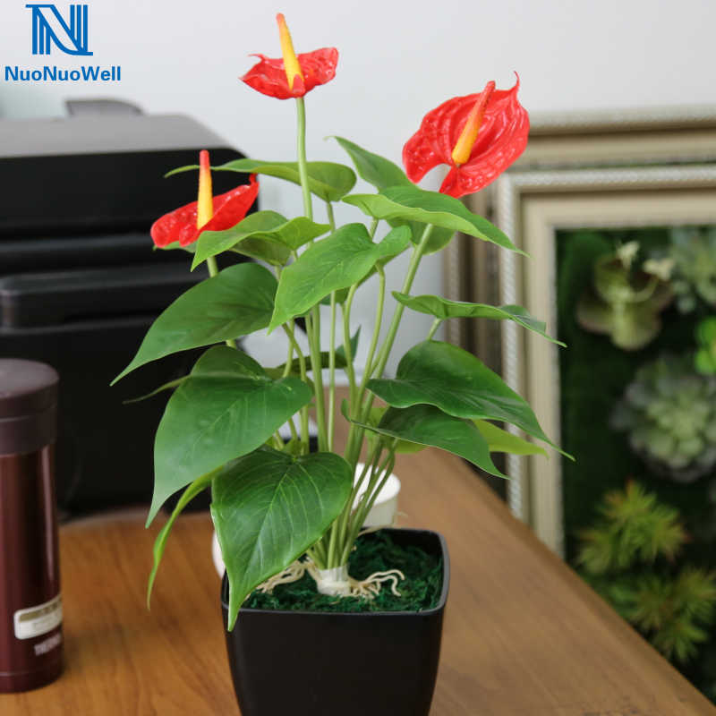 Nuonuowell Artificial Pot Anthurium 16 40cm Real Touch Office