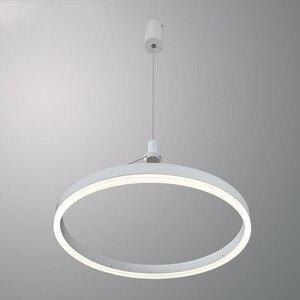 Современный круглый белый светодиодный подвесной светильник простое тонкое кольцо потолочная Подвесная лампа для гостиной столовой Блеск...