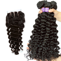 Ever Beauty Deep Wave Bundles With Closure Human Hair Weave Bundles With Closure Brazilian 3 Bundles With Closure
