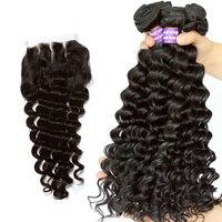 Ever beauty глубокая волна пучки с закрытием человеческих волос плетение пучки с закрытием бразильские 3 пучка с закрытием