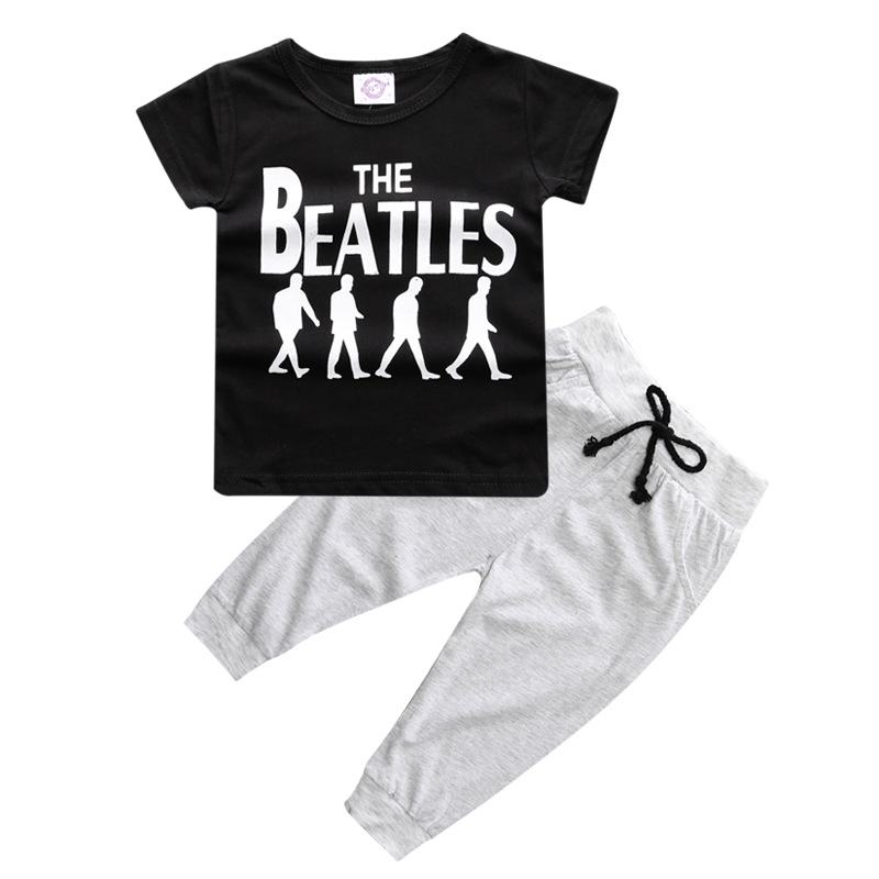 Retail 2017 summer style infant clothes baby clothing sets boy Cotton little monsters short sleeve 2pcs baby boy clothes baby girl 1st birthday outfits short sleeve infant clothing sets lace romper dress headband shoe toddler tutu set baby s clothes