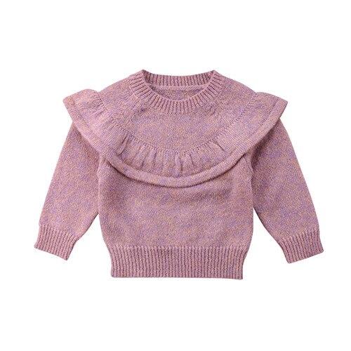 Baby Girls Jumper Solid Color Kids Long Sleeve Toddler Knit