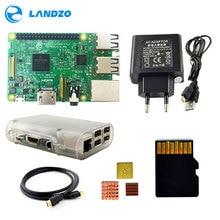 Raspberry Pi 3 Модель B Starter Kit с Pi 3 доска + 16 г карты памяти + HDMI кабель + ЕС Мощность + радиаторы + прозрачный Raspberry Pi 3 Чехол