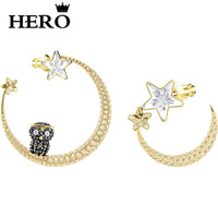 HERO Original Copy Of High Quality 1:1 SWA Owl Moon Ear Stud Logo Free Package Manufacturers Wholesale