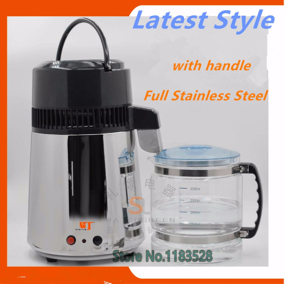 CE Certificat En Acier Inoxydable distillateur D'eau portable purificateur d'eau avec bocal en verre corps en acier pour la maison et l'hôpital de laboratoire