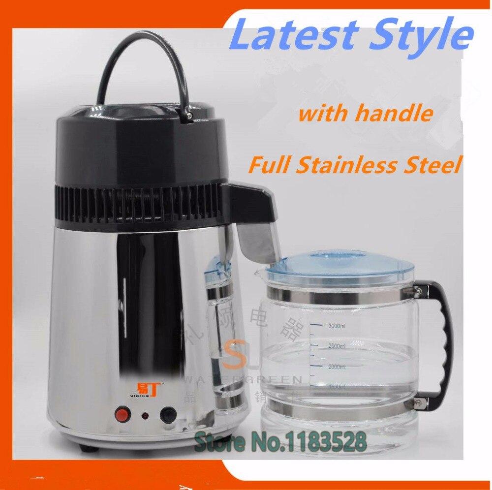 Certificado CE de Aço Inoxidável destilador de Água purificador de água portátil com jarra de vidro corpo de aço para casa & laboratório do hospital