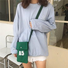 A5 Cute canvas bag female literary and artistic hundred inclined cross-shoulder mobile phone student change small square