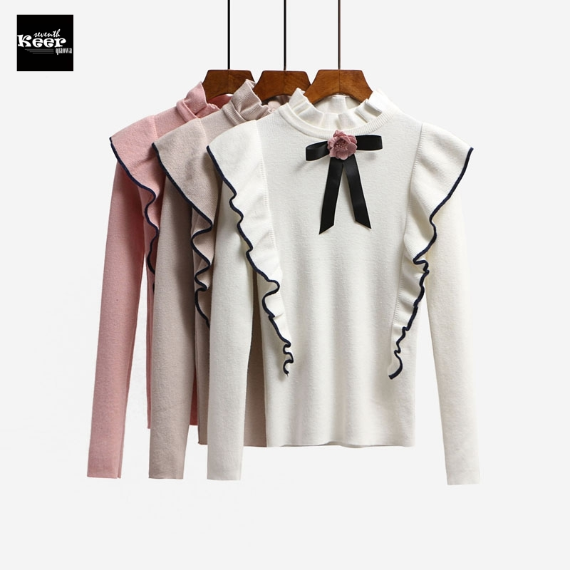 2018 New Autumn Runway Designer Women Sweater Pullover Tops Sweet Bow Ruffles Turtleneck Knit Basic Knitted Sweaters Pullovers