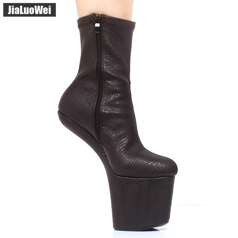 jialuowei New Black Strange Style Heelless Hoof Boots No-Heel Sexy Fetish Serpentine Print Super High Heel Platform Ankle Boots цена