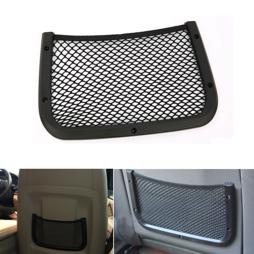 BBQ@FUKA Car Rear Seat Truck Storage Luggage Organizer Holder Mesh Cargo Pouch Net Pocket Fit For A4 Compass B180 B250 ect image