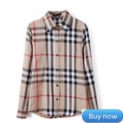Free-Shipping-New-2015-Women-Plaid-Blouse-Casual-Lapel-Shirt-OL-Long-Sleeve-Cotton-Shirts-Women