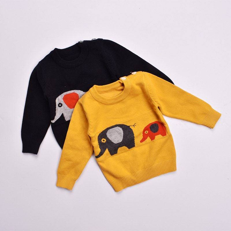 Boys sweaters fall 2017 kids sweater for children O-NECK elephantBaby knit sweater cotton toddler Cardigans