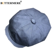 BUTTERMERE Cotton Blue Newsboy Cap Gatsby Hat Men Women Spring Octagonal British Casual Male Female Beret Brand Flat