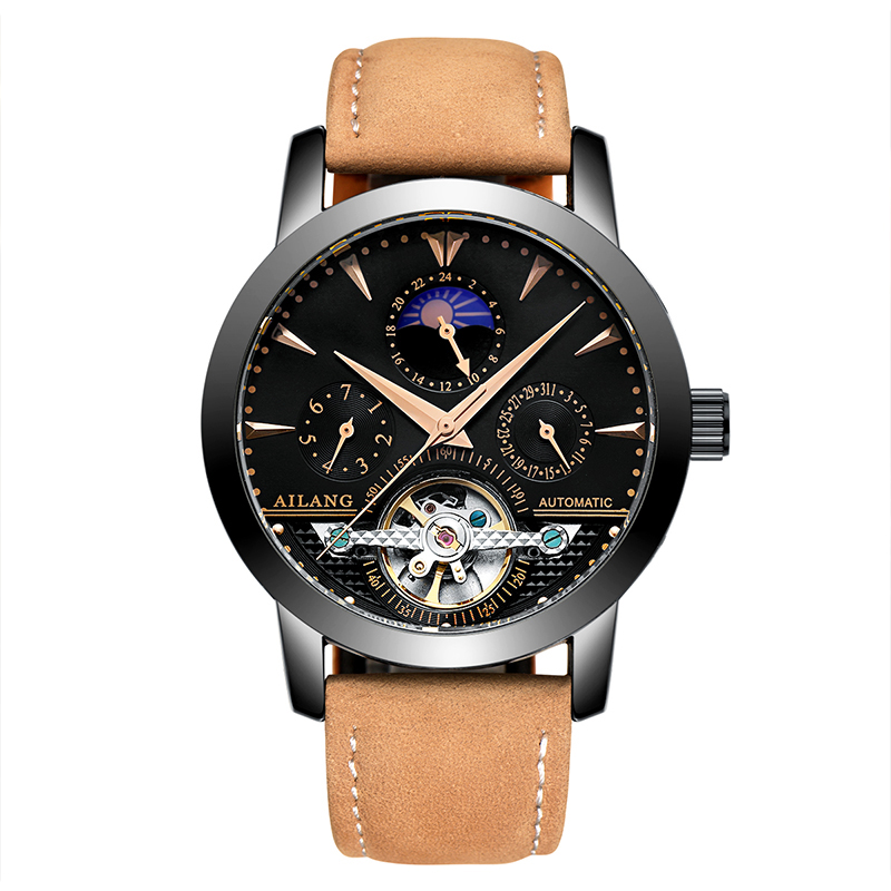 AILANG 2606 Switzerland watches men luxury brand automatic moon phase hollow tourbillon New watch special calendarAILANG 2606 Switzerland watches men luxury brand automatic moon phase hollow tourbillon New watch special calendar