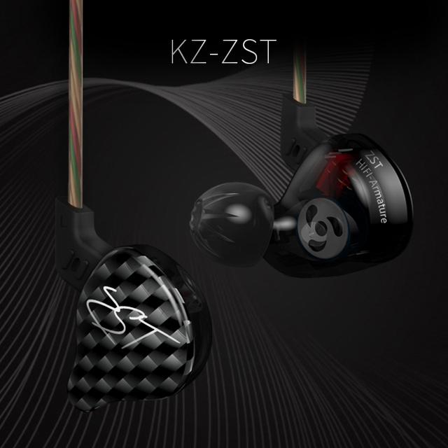 Nueva KZ 1DD ZST 3.5mm En los Auriculares Del Oído Con 1BA híbrido Auricular Con MICRÓFONO de ALTA FIDELIDAD Auriculares Correr Deporte Auriculares Monitor auriculares